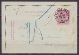 EP Carte-lettre 10c (N°46) Càd OSTENDE-QUAI /18 AOUT 1892 Pour SAARBURG Lorraine Taxé 15c - Stamped Stationery