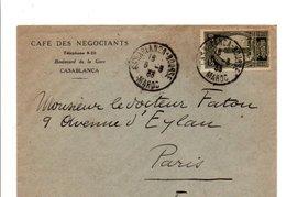 MAROC LETTRE A EN TETE DE CAFE DE CASABLANCA POUR LA FRANCE 1933 - Storia Postale