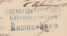 EISENBAHN + DAMPFBOOT GUETEREXPEDION ROMANSHORN  1879 - 1862-1881 Sitted Helvetia (perforates)
