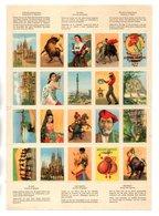 """VINGT VIGNETTES . """" SOUVENIR D'ESPAGNE """" . ANDALOUSE, FLAMENCO, CORRIDA, BARCELONE, MADRID - Réf. N°166F - - Tourisme (Vignettes)"""