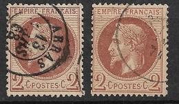 France  N° 26B  Et 26Ba   Oblitérés B/TB    Soldé   à Moins De  15 %  ! ! ! - 1863-1870 Napoleon III With Laurels
