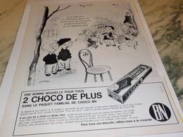 ANCIENNE PUBLICITE DEUX CHOCO DE PLUS BN 1963 - Affiches