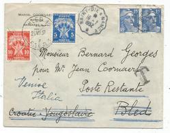 GANDON 15FR BLEU X2 LETTRE CONVOYEUR SAINT DIE A NANCY 16.7.1952 POUR CROATIE YOUGOSLAVIE TAXE POSTE RESTANTE ITALIE - 1945-54 Marianne Of Gandon