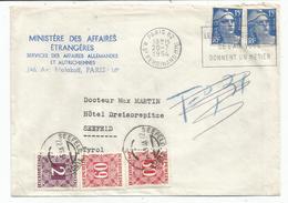 GANDON 15FR BLEU X2 LETTRE PARIS 62 20.7.1954 POUR TYROL TAXE 2S+60GX2 SEEFELD AUTRICHE - 1945-54 Maríanne De Gandon