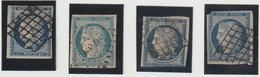 Cérès N°4, Lot 2 TB, 2 Déf., Nuances Et Oblitérations - 1849-1850 Ceres