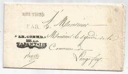 MARQUE SARDE SAVOIE MOUTIERS LETTRE + FRANCHISE LE COMM DE LA TARENTAISE 1842 CIRCULAIRE POLICE CARDE DE SCEAUX - Poststempel (Briefe)