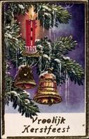 Cp Frohe Weihnachten, Tannenzweig, Glocken, Kerze - Noël