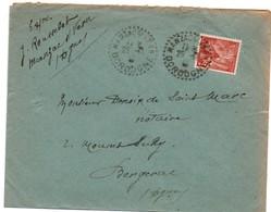 Manzac Sur Vern 1944 Dordogne - Cachet Tireté Agence Rurale - Lettre Avec Iris - Daguin ?? - 1921-1960: Modern Period