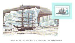 Carte Sur L'Histoire Des Transports Timbre Territoire Australien Le H.M.S. Challenger Corvette 3 Mâts Fond Marin Glacier - Polar Ships & Icebreakers
