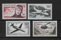 FRANCE - 1955 à 1959 - ANNEES COMPLETES POSTE AERIENNE YVERT N° 34/37 ** MNH  - COTE = 128 EUR. - 1927-1959 Mint/hinged