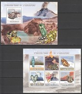 F1087 2009 GUINE GUINEA-BISSAU MINERAIS E VULCOES 1KB+1BL MNH - Minerali