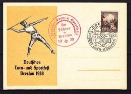 Allemagne - Empire - Carte Postale De 1938 - Oblit Breslau - Deutsche Turn Und Sportfest - Lancement Javelot - Briefe U. Dokumente