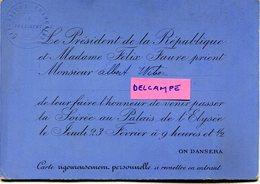 Faire Part    Invitation    Du Président De La République   FELIX FAURE - Faire-part