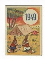 """Calendrier De Poche Illustré (Lapins Au Camping) 5.5 X 7.5 Cm - 1949 - Publicité """"Cadet Rousselle"""" Chalon S/Saône (71) - Petit Format : 1941-60"""