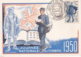 FRANCE 1950 CARTE MAXIMUM  JOURNEE DU TIMBRE BELFORT - Maximum Cards