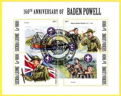 Bloc Feuillet Oblitéré De 4 T.-P. - Scouts 160e Anniversaire De La Naissance De Robert Baden Powell - Sierra Leone 2017 - Sierra Leone (1961-...)