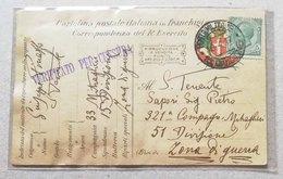 Cartolina Postale Italiana In Franchigia Corrispondenza Del R.Esercito Fra Zone Di Guerra - 10/04/1917 - Military Mail (PM)