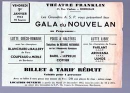 (sport) Bordeaux (33 Gironde) Bilet Tarif Réduit GALA NOUVEL AN  Haltères, Lutte  THEATRE FRANKLIN 1943  (PPP21836) - Tickets - Entradas