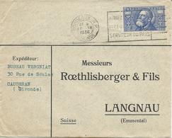 LETTRE 1936 POUR LA SUISSE AVEC TIMBRE A 1 FR 50 JEAN JAURES - Marcophilie (Lettres)