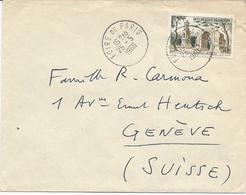 LETTRE 1950 POUR LA SUISSE AVEC TIMBRE A 50 FR SAINT REMY LES ANTIQUES - Marcophilie (Lettres)