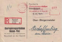 ALLEMAGNE 1946 ZONNE AAS CARTE RECOMMANDEE EMA DE NEUSTADT AVEC CACHET ARRIVEE ASCHAFFENBURG - Zone AAS