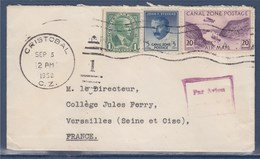 = Canal Zone Enveloppe 3 Timbres Cristobal 5.9.1950 à Versailles - Timbres