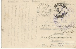 Guerre 14 18 SIDI ABDALLAH Tunisie Cachet Violet PERSONNEL MILITAIRE SIDI ABDALLAH Cad FERRYVILLE 1917 .. ..G - WW I