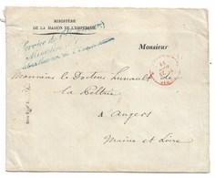 Enveloppe Cursive Service De L'empereur..... Adressée Au Dr Hunault De La Peltrie  1859 - Marcophilie (Lettres)