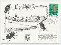 """Schweiz Suisse 1980: CORTAILLOD - BON VIN BONNE EAU Vue Générale Et Insectes - Avec Timbre PJ """"Cortaillod"""" - Vins & Alcools"""