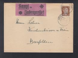 Dt. Reich Brief 1943 Beerfelden Aufkleber Kampf Der Judenpresse - Brieven En Documenten