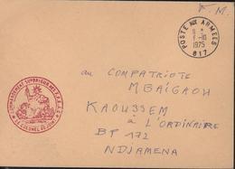 Cachet Déesse Assise Rouge Commandement Supérieur Des FFEAC F.F.E.A.C Colonel Adjoint Poste Aux Armées SP 617 6 10 1975 - Marcophilie (Lettres)