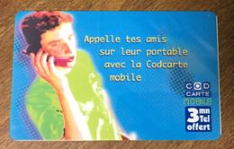COD CARTE MOBILE 3 MN AVEC CODE TIRAGE 25 EXEMPLAIRES N°24 TRÈS RARE CARTE TÉLÉPHONIQUE PHONECARD TELECARTE - FT