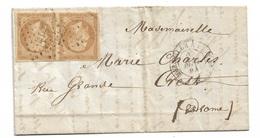 France   Paire N° 13A   Sur Pli Marseille 26/08/1861 Pour Crest 27/08/1861 Ligne Marseille à Lyon ML 2  TB  Soldé ! ! ! - 1853-1860 Napoleon III