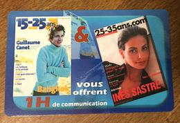 15 - 25 ANS FRANCE TELECOM COD CARTE 1 H SPÉCIMEN CARTE TÉLÉPHONIQUE 2002 SANS CODE PHONECARD TELECARTE - FT