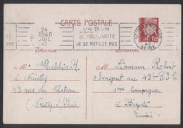 IZ429   France 1942 Carte Postale Neuilly-sur-Seine Pour Bizerte Tunisie - Poststempel (Briefe)