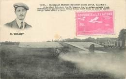 MONOPLAN MORANE-SAULNIER Piloté Par R.Vidart. (vignette Souvenir De L'aviation), Carte Vendue En L'état. - Piloten