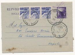 1950 BIGLIETTO POSTALE 4 LIRE IN USO ASSAI TARDIVO - 1946-60: Storia Postale