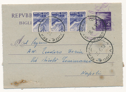 1950 BIGLIETTO POSTALE 4 LIRE IN USO ASSAI TARDIVO - 1946-.. République