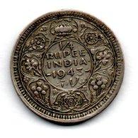 Inde - 1/4 Rupee  1943 - état  TTB - India