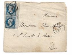 """France  Paire Grand Bord De Feuille  N° 14a  Lyon 21/01/1857 à Saint Bonnet Le Château Le 22/01 """"1818""""  TB  Soldé ! ! ! - 1853-1860 Napoléon III"""