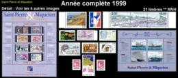 ST-PIERRE & MIQUELON  - Année Complète 1999 + AVION - Yv. 686 à 705 Dont 2 BF + PA 79 ** 21 Tp Faciale 14,58€ Réf.SPM117 - St.Pierre & Miquelon