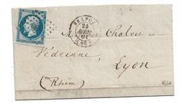 France  N° 14Ad Bleu Sur Vert  Belfort 24/04/1861 à Lyon Le 25/04/1861 Paris-Lyon Le 24/4  Signé Calves TB Soldé ! ! ! - 1853-1860 Napoleon III