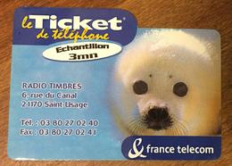 PHOQUE TICKET TÉLÉPHONE 3 MN SPÉCIMEN SANS CODE 15/04/2001 CARTE TÉLÉPHONIQUE PAS TELECARTE - FT