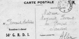 """CP- """"F M """" -  Escadron à Cheval-- - Marcophilie (Lettres)"""