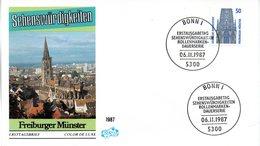 """BRD Schmuck-FDC Freimarken """"Sehenswürdigkeiten: Freiburger Münster"""", Mi 1340A ESSt 6.11.1987 BONN 1 - FDC: Sobres"""