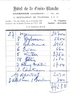Hôtel De La Croix-Blanche - Chabanais -harente) - Factures