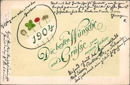Glückwunsch Neujahr Silvester Wünsche Mit Glückssymbolen 1904 Goldrand - Anno Nuovo