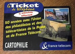 CARTOPHILIE FRANCE TELECOM TICKET TELEPHONE 5 MN SPÉCIMEN SANS CODE CARTE TÉLÉPHONIQUE PHONECARD PAS TELECARTE - FT