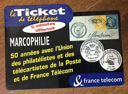 MARCOPHILIE FRANCE TELECOM TICKET TELEPHONE 5 MN SPÉCIMEN SANS CODE CARTE TÉLÉPHONIQUE PHONECARD PAS TELECARTE - FT