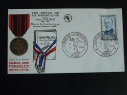 FDC Léonce Vieljeux Héros De La Résistance Paris 1960 (ex 2) - Guerre Mondiale (Seconde)